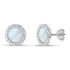 Round White Mother Of Pearl Sterling Silver Stud Earrings