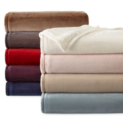 jcpenney home velvet plush solid blanket