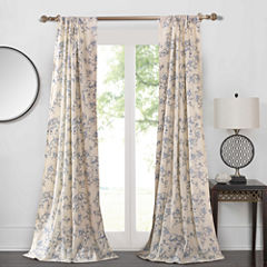 Barefoot Bungalow Saffi Blue Elephant Rod-Pocket Curtain Panel