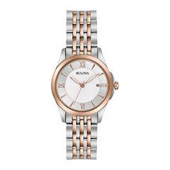 Bulova® Womens Silver And Rose Gold Tone DiamondsCollection Bracelet Watch 98M125