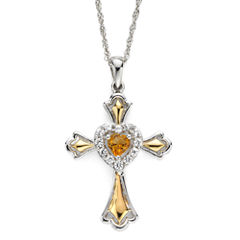 Citrine & Lab-Created White Sapphire Two-Tone Cross Pendant Necklace