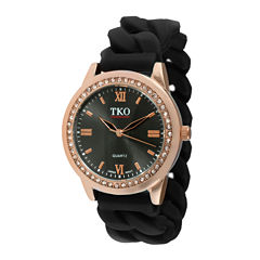 TKO ORLOGI Womens Crystal-Accent Chain-Link Black Silicone Strap Stretch Watch