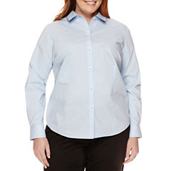 Liz Claiborne® Long Sleeve Wrinkle Free Shirt-Plus