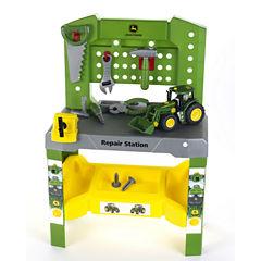Theo Klein John Deere Repair Station Workbench & John Deere Take A Part Tractor