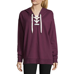 Flirtitude French Terry Lace Up Hoodie- Juniors