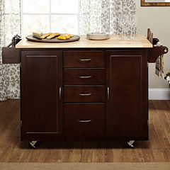 Cottage Country Wood-Top Kitchen Cart