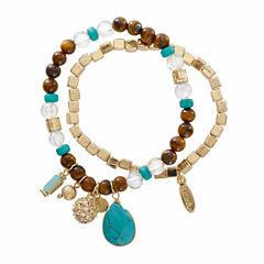 Natasha 2-pc. Bead Charm Gold-Tone Stretch Bracelet Set