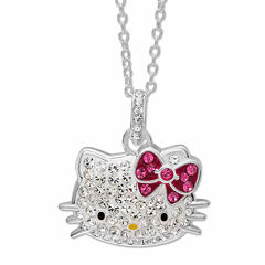 Hello Kitty® Sterling Silver Crystal Head Pendant Necklace