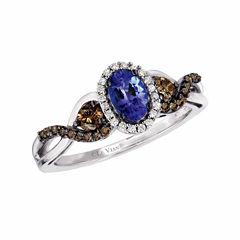 Grand Sample Sale™ by Le Vian® Blueberry Tanzanite® & 1/2 CT. T.W. Vanilla Diamonds® and Chocolate Diamonds® in 14k Vanilla Gold® Chocolatier® Ring