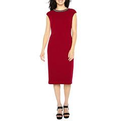 Liz Claiborne Cap Sleeve Beaded Sheath Dress