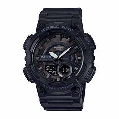 Casio Table World Time Mens Black Strap Watch-Aeq110w-1bos
