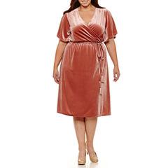 Boutique + Short Sleeve Velvet Wrap Dress-Plus