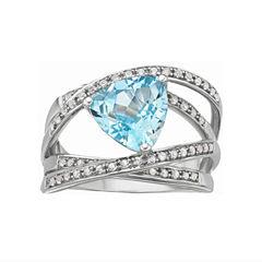 Blue Topaz Crossover Ring Sterling Silver
