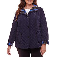 Liz Claiborne Belted Quilted Jacket-Plus