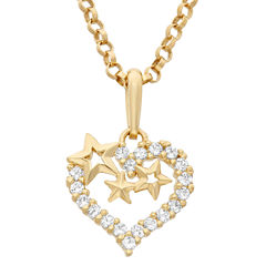 Girls 1/5 CT. T.W. White Cubic Zirconia 14K Gold Pendant Necklace
