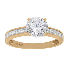 Diamonart Womens 3 CT. T.W. Lab Created Round White Cubic Zirconia 10K Gold Engagement Ring