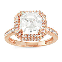 Diamonart Womens 2 1/2 CT. T.W. Lab Created Asscher White Cubic Zirconia 10K Gold Engagement Ring