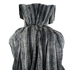 Plutus Cuddle Charcoal Fringe Handmade Throw / Blanket