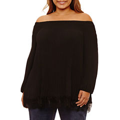 Boutique + Long Sleeve Off the Shoulder Lace Trim Blouse-Plus