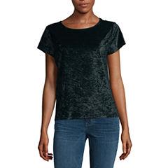 City Streets Short Sleeve Crew Neck T-Shirt-Womens