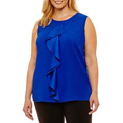 Liz Claiborne Sleeveless Drape Front Shell- Plus