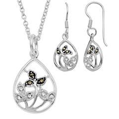 Sparkle Allure Le Vieux Marcasite Silver Over Brass Jewelry Set