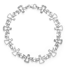Womens 7.5 Inch Diamond Accent White Diamond Sterling Silver Chain Bracelet