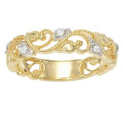 Womens 1/10 CT. T.W. Genuine White Diamond Gold Over Silver Band