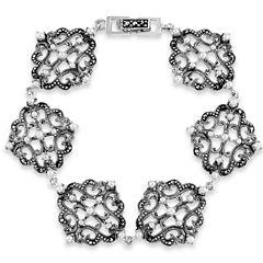 Swarovski Womens 7 Inch Black Marcasite Sterling Silver Link Bracelet