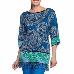 Lark Lane Paizley Park Elbow Sleeve Boat Neck Paisley Pullover Sweater