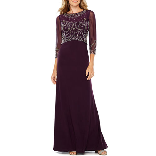Jackie Jon 3/4 Sleeve Beaded Evening Gown