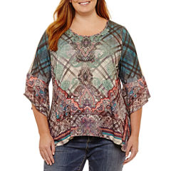 Unity World Wear 3/4 Sleeve Scoop Neck Knit Paisley Blouse-Plus