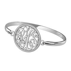Personalized Sterling Silver 28mm Monogram Bangle