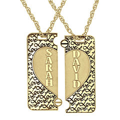 Personalized 14K Gold Over Silver Couple's Name Puzzle Heart Pendant Necklaces