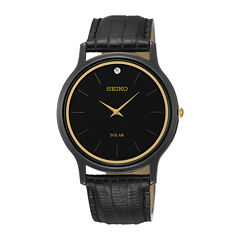 Seiko® Mens Diamond-Accent Black Leather Strap Solar Watch SUP875