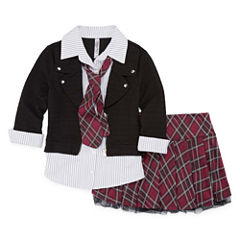 Beautees Cardigan Skirt Set - Girls' 7-16