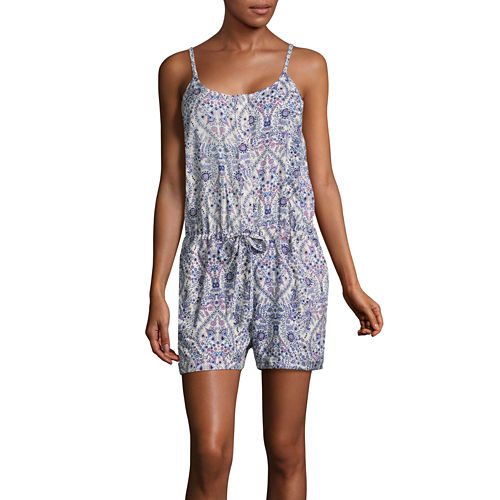 Us Polo Assn. Floral Sleeveless Romper-Juniors