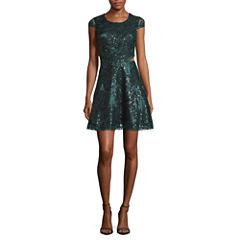 My Michelle Short Sleeve Party Dress-Juniors