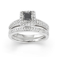 Womens 1/2 CT. T.W. Color Enhanced Black Diamond 10K Gold Bridal Set