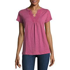 St. John's Bay Short Sleeve V Neck T-Shirt-Womens Petites
