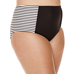 Arizona Summertime Stripe High-Waist Hipster Swim Bottoms - Juniors Plus