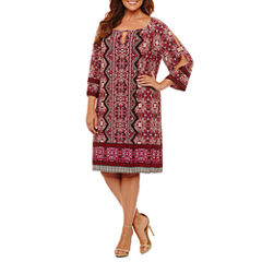 London Times 3/4 Sleeve Scroll Sheath Dress-Plus