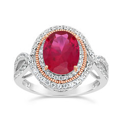 Womens Lab Created Red Ruby 18K Gold Over Silver Cocktail Ring