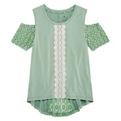 One Step Up Cold Shoulder Short Sleeve with Crochet Details- Girls' 7-16