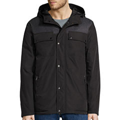 Claiborne® Hooded Mixed Media Puffer Jacket