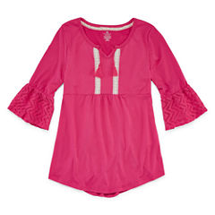 One Step Up 3/4 Bell Sleeve with Crochet Details - Girls' 7-16