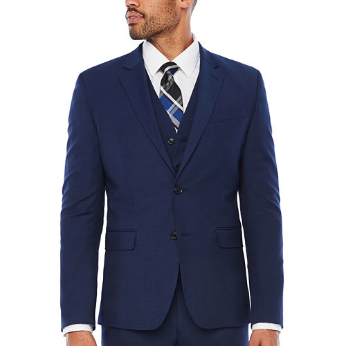 J.Ferrar Dark Blue Texture Jacket-Slim