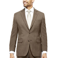 Stafford® Travel Wool Blend Brown Sharkskin Classic Fit Jacket