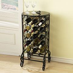 Glass-Top Wine Rack Table