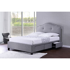 Baxton Studio Armeena Modern Storage Bed with Upholstered Headboard